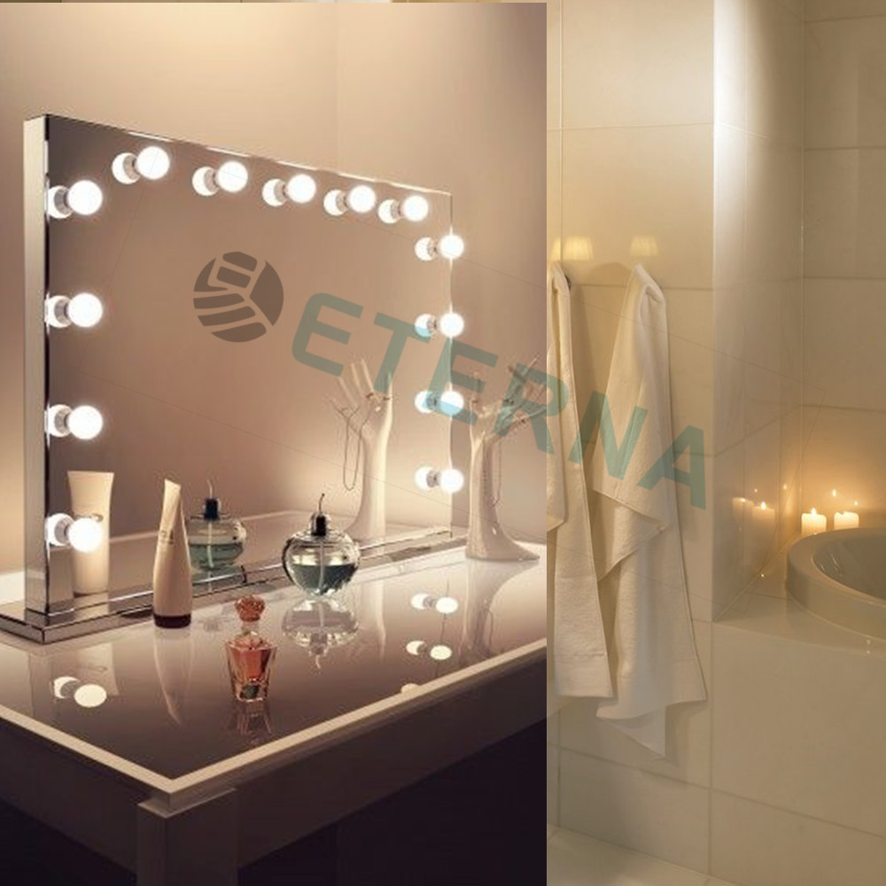 Vanity makeup mirror with light bulbs