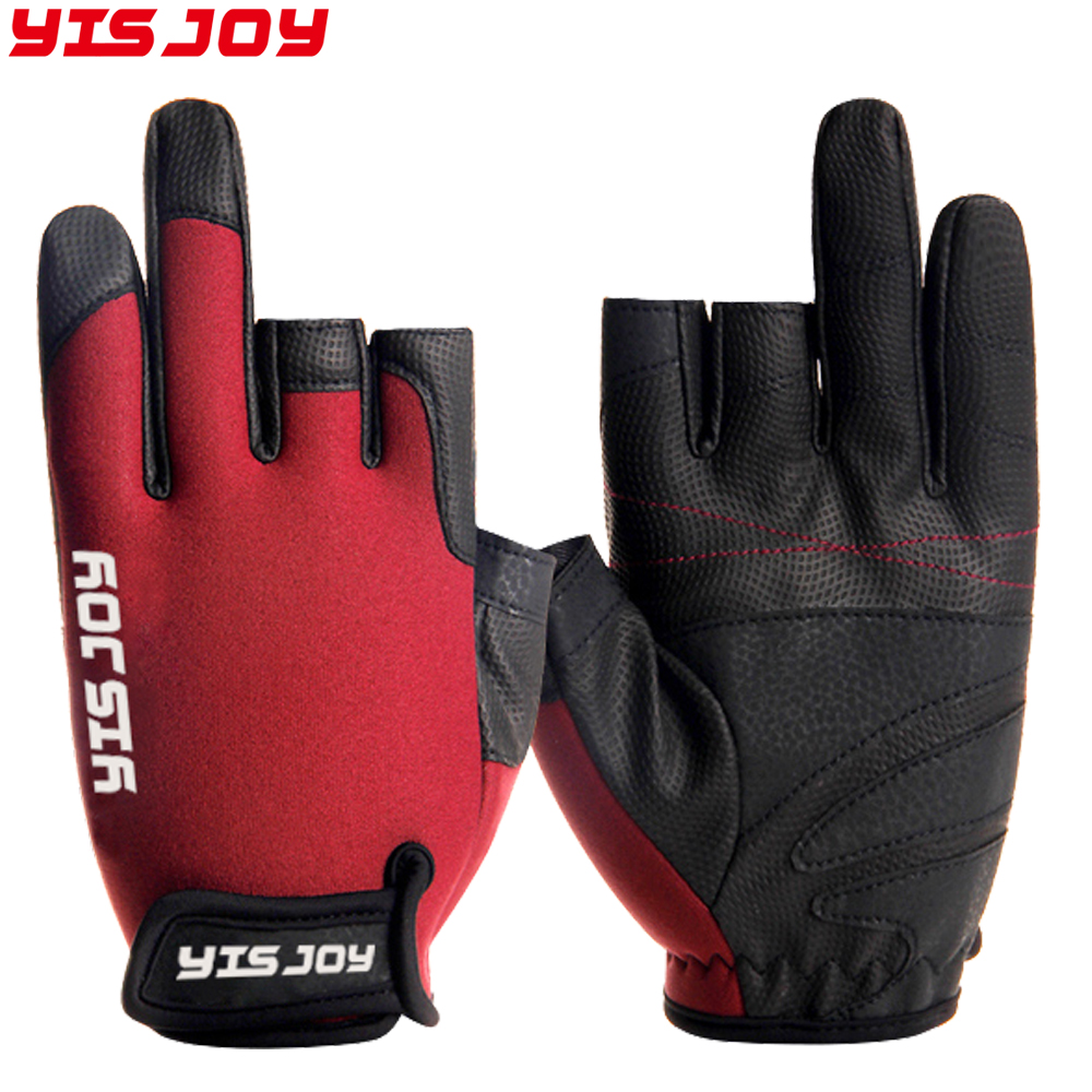 Good Waterproof 3 Cut Finger Anti-slip Non-Slip Neoprene Fishing Gloves Outdoor Sports Gloves