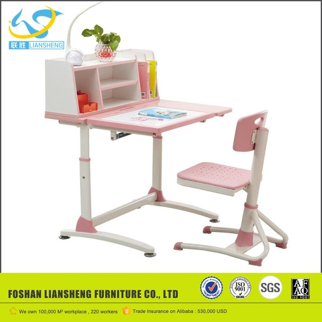 Princess Pink Wooden Kids Study Table, Height Adjustable Kids Table And  Chairs