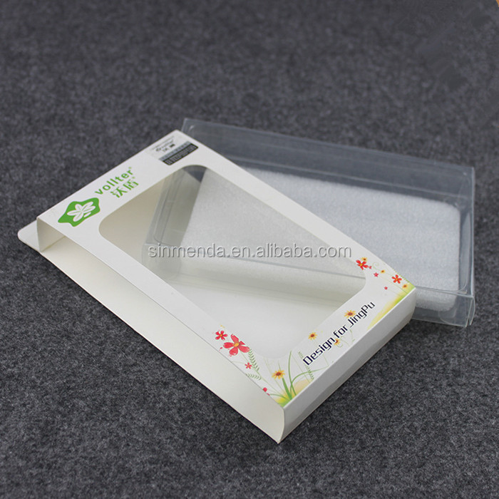 Custom printed logo SBS paper sleeve box for clear gift plastic box packaging