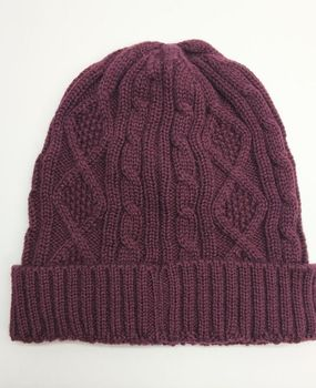 84a91873603 winter warm cable stripped knitted folded 100% wool beanie hat wool mark  manufacturer
