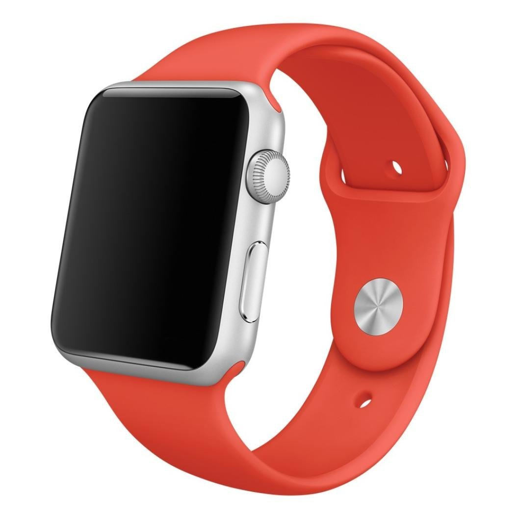 For Apple Watch Band, HP95(TM) Soft Silicone Replacement Sport Watch Band for Apple Watch 38mm/ Apple Watch 42mm All Models (42mm, Red )