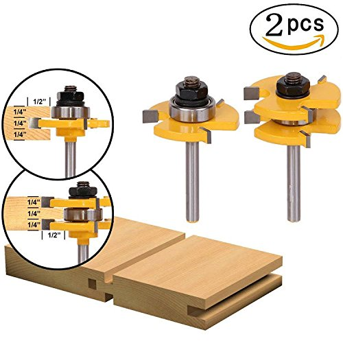 """QST-CAIDU 2Pcs T-type Adjustable Tongue & Groove Router Bit Set 