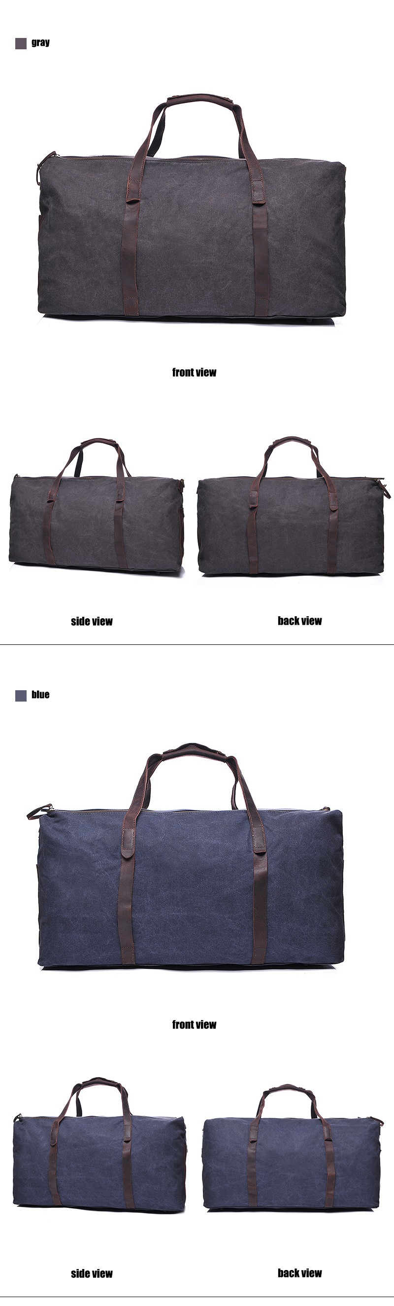 YD-2179 Active Leisure Travel Bag Water Resistant Overnight Holdall big Travel Bag Vintage Weekend Mens Sport Canvas Duffle Bags
