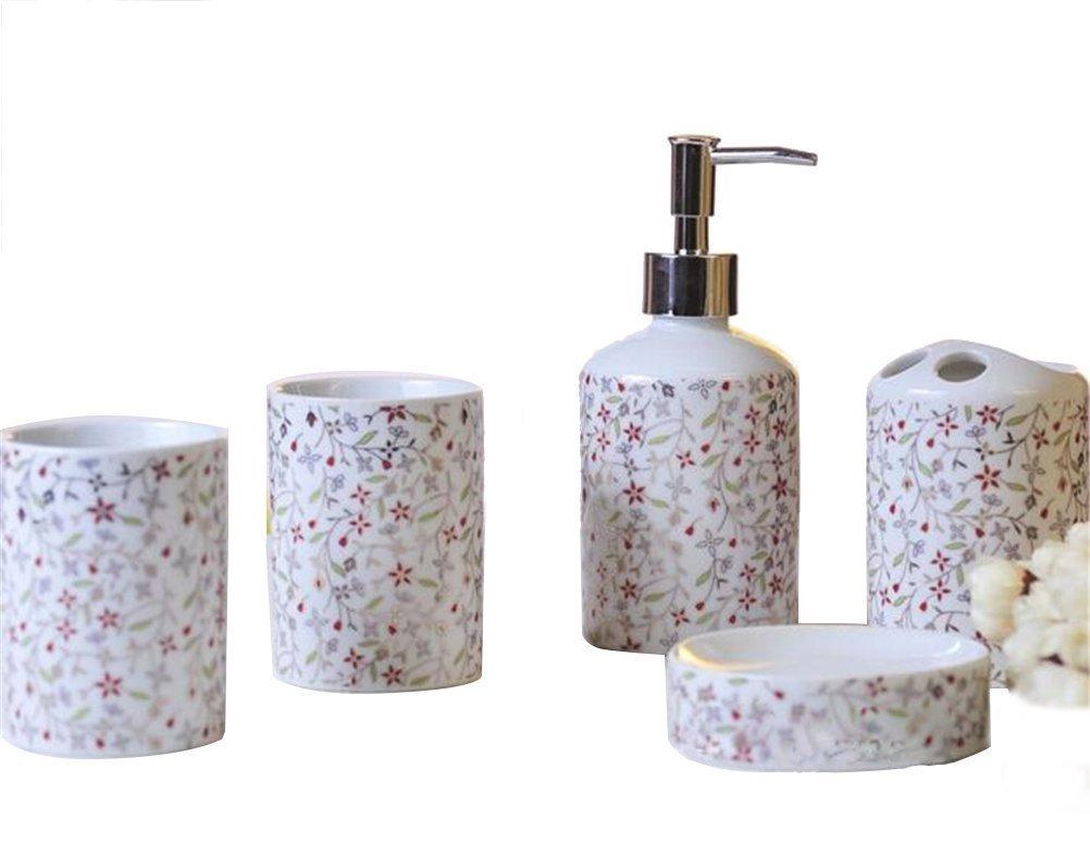 Buy JynXos Ceramic Bathroom 5 Pieces Set Supplies Red And Grey ...