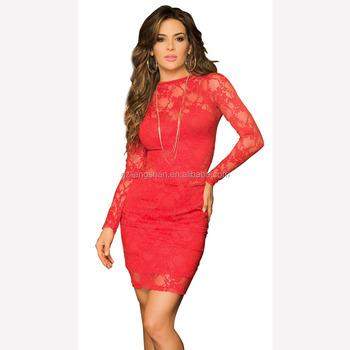 3a49d644d7 En gros En Stock Dames Nouveau Modèle Robe Femmes Sexy Mode Moulante En  Dentelle Rouge et