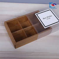 Hot sale custom logo bakery kraft drawer paper box with clear window