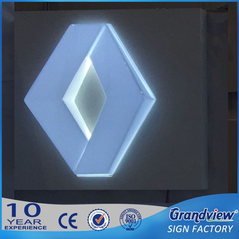 Car Showroom Brand Signage / glowing car emblems and names signage