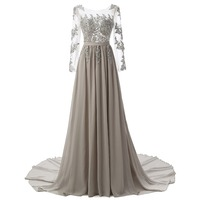 Wholesale O-Neck Women Lace Crystal Sequined Appliques Cheap Chiffon Evening Dress