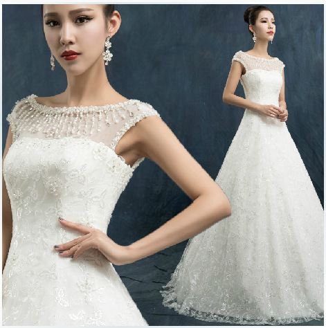 C72563A White Elegant Full Lace Cap Sleeve Wedding Dress for Bridal