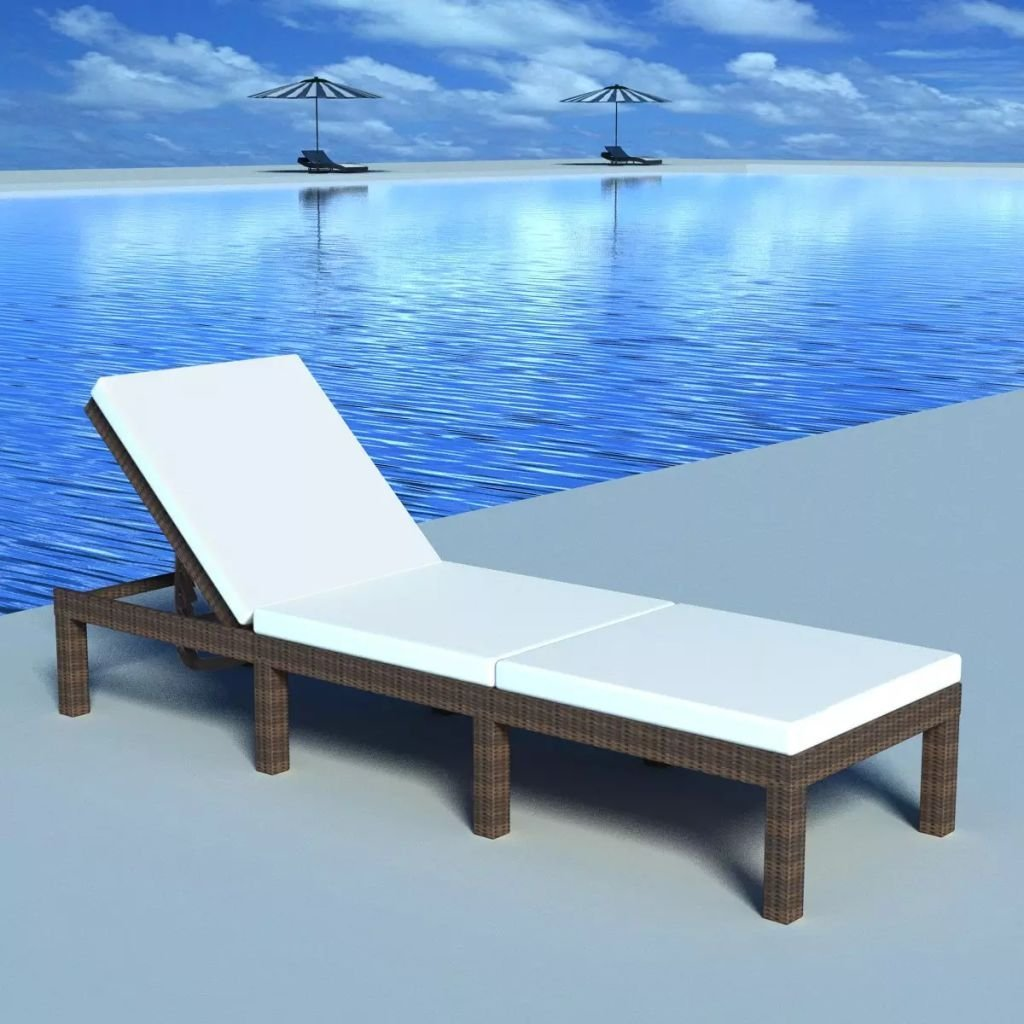 Get Quotations · Adjustable Sun Lounger With Cushion Brown Poly Rattan Lounge  Chair Material: PE Rattan + Power