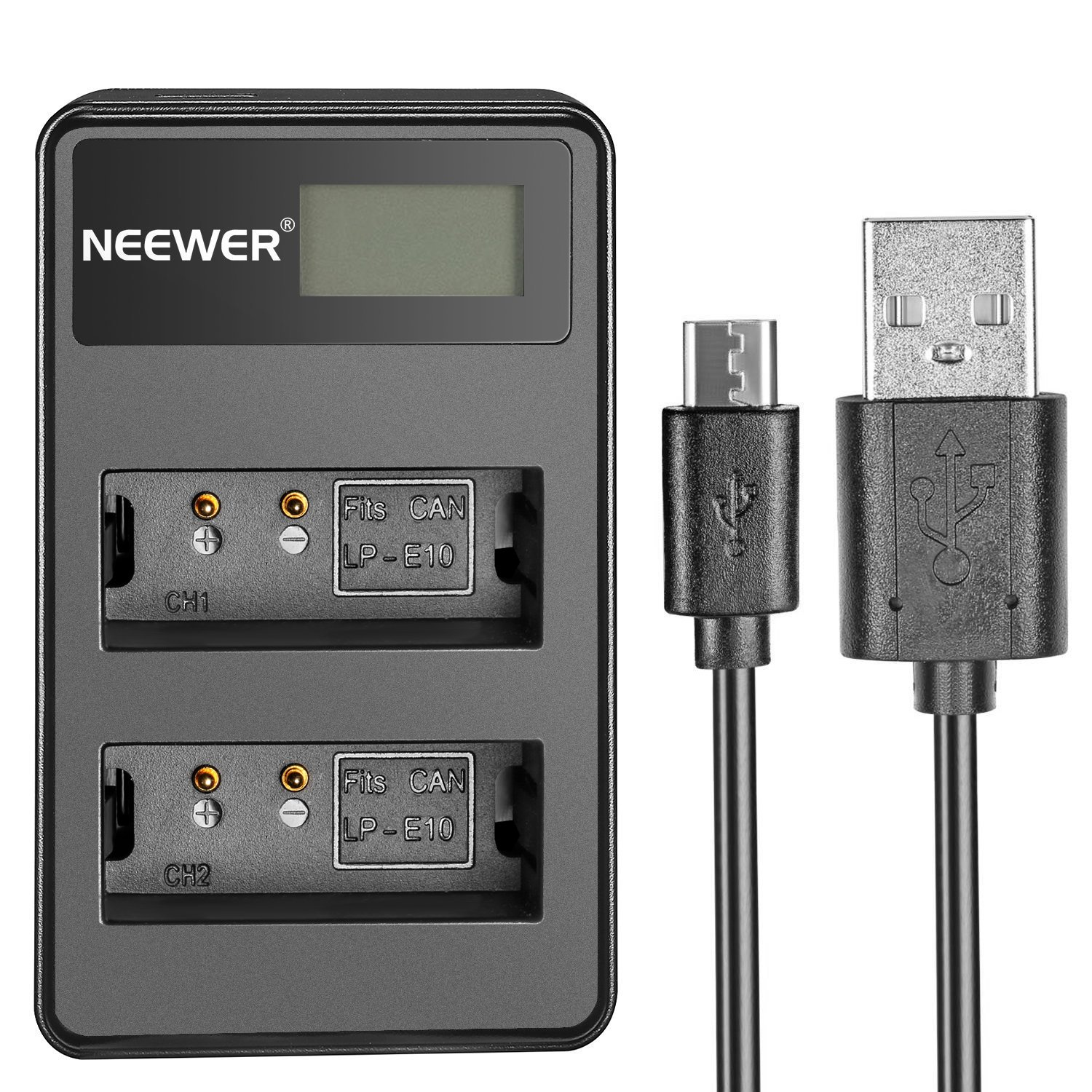 Neewer USB Dual Battery Charger with LED Display 5V/2A Input for Canon LP-E10 Rechargeable Battery, Suitable for Canon EOS Rebel T3 T5 T6 Kiss X50 Kiss X70 EOS 1100D EOS 1200D EOS 1300D Digital Camera
