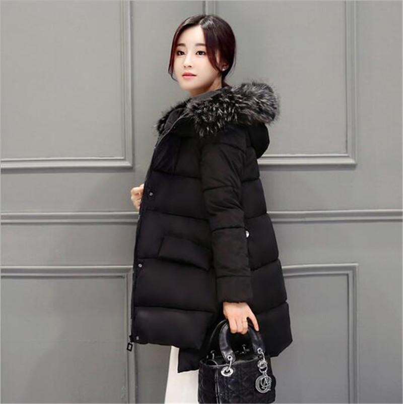 2016 font b Winter b font New Women Hooded Fur collar Medium long Cotton Down Jacket