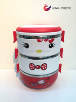 Cartoon Plastic bento box with lock kids folding lunch box for school kids
