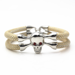 white gold plated skull head mens bracelet leather bangles