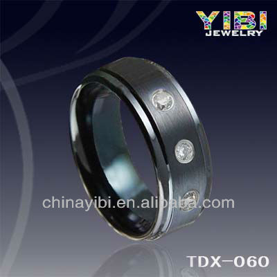 8mm IP black tungsten ring mens spinner rings chocolate CZ men's brushed stripe