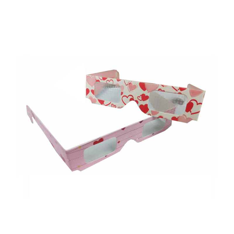 Hand Made Cheap Gift custom Fold 3d glasses heart diffraction glasses