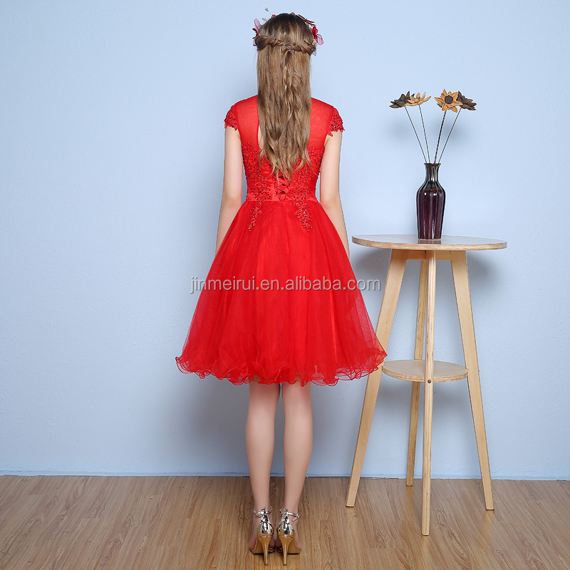 Elegant High Neck Sweet Red Capped A Line Knee-lemgth Tulle Backless Sequins Appliqued Evening Dress