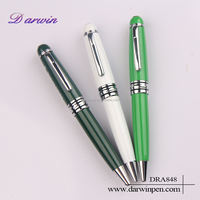 Metal High Quality Green & White Ballpoint Pens Personalized