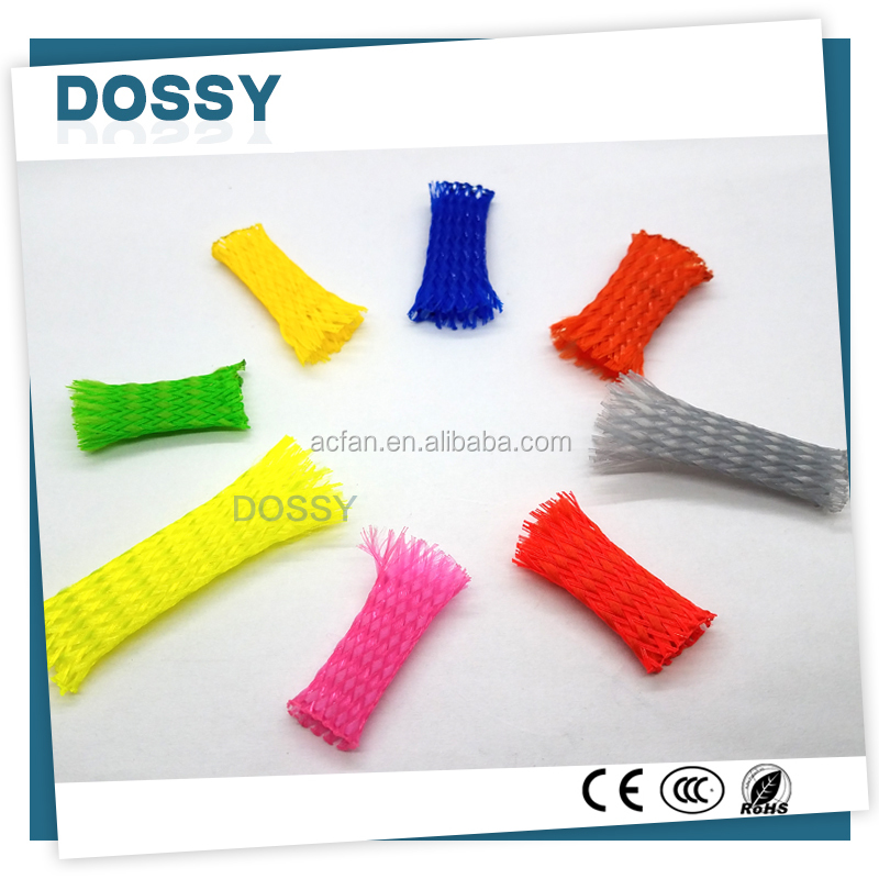 Red Blue PET Monofilament expandable braided sleeving flexible cable Sleeve
