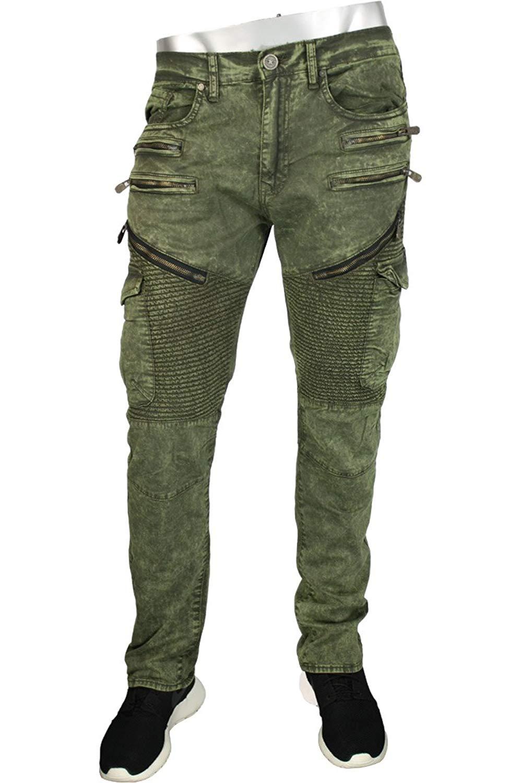 ce6236eceabe Get Quotations · Jordan Craig Moto Zip Aaron Slim Straight Fit Men s Pants  Army Green jm2153-army