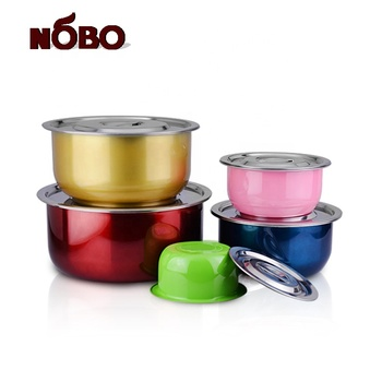 Hot sale colorful Indian 10pcs steel cooking pot with induction bottom