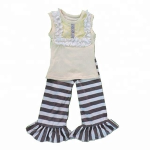 summer clothes wholesale baby boutique clothing suit cotton sleeveless tank top and ruffle black and white striped pants outfit