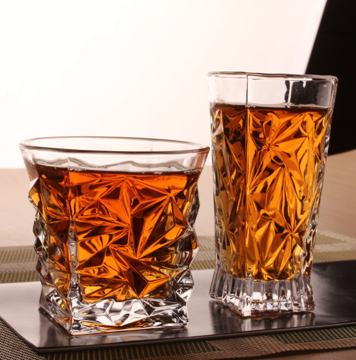 Crystal transparent glass whisky cup 7oz Creative Home Hotel Bar Party Glass with Gift Box