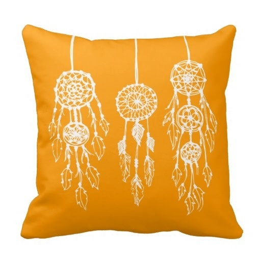 Humid Orange Illustrated Bohemian Dreamcatchers Throw Pillow Case (Size: 20