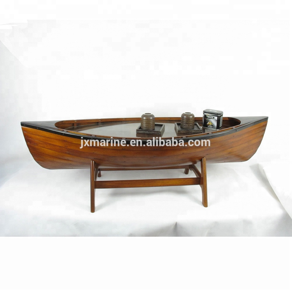 - Manufacturer Wooden Furniture Antique Finish Canoe Boat Coffee