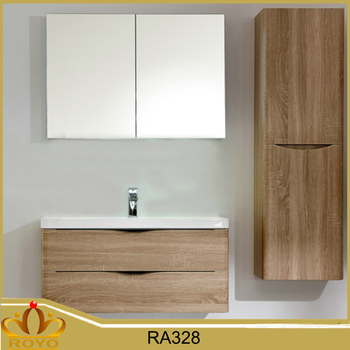 Modern Mirrored Hanging Mdf Sliding Door Bathroom Vanity Ra328 With Side Cabinet