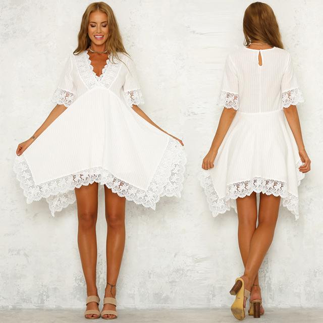 5aa3d3db892 OEM мода v-образным вырезом рукава длина нерегулярные белые кружева шифон  Летние женские короткие платья