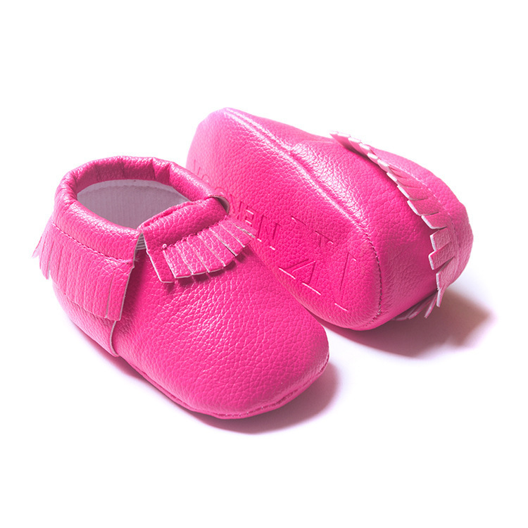 Hot Selling Baby Girl Sweet Shoes Newborn Kids Hot Pink Prewalker PU Leather Footwear Cute Solid Baby Girl Soft Anti-slip Shoes
