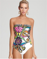 2016 Floral Bandeau Women Swimwear Sexy Lady Printed Deep V One Piece Swimsuit Push Up Retro