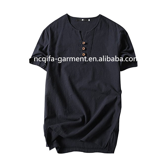 Summer/Autumn Short Sleeve T Shirts Fashion Top TeeMen's Casual Linen And Cotton V Neck T-shirt