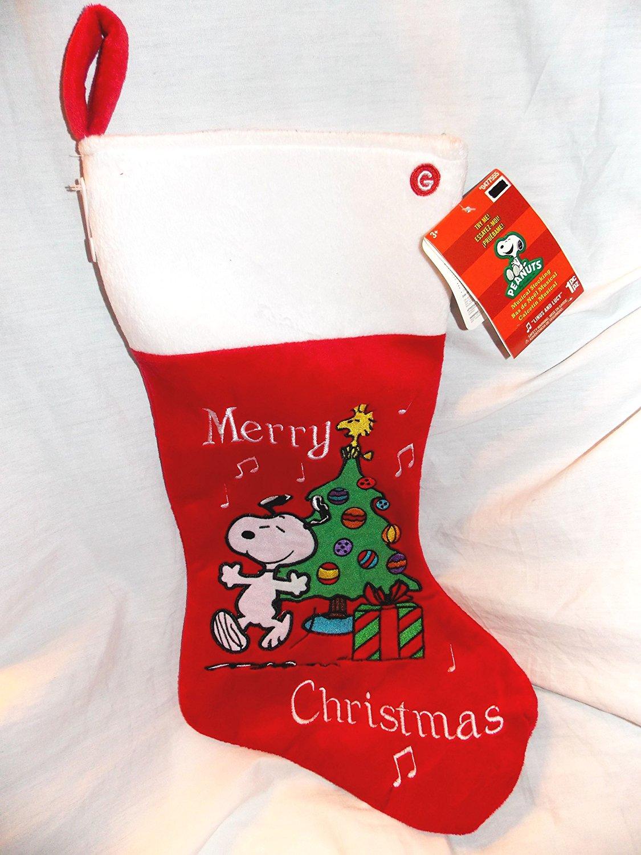 peanuts snoopy 18 musical chrsitmas stocking plays linus and lucy peanuts theme - Snoopy Christmas Stocking