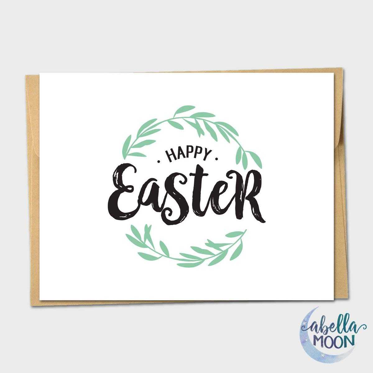 Set of 10 Vine Wreath Happy Easter Greeting Card - Floral Easter Card, Easter Card, Handmade
