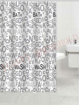 English Letter Design Shower Curtains Waterproof Fabric Shower