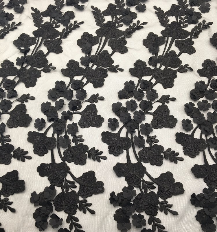 High quality polyester lace mesh black flower leaf laser cut embroidery fabric