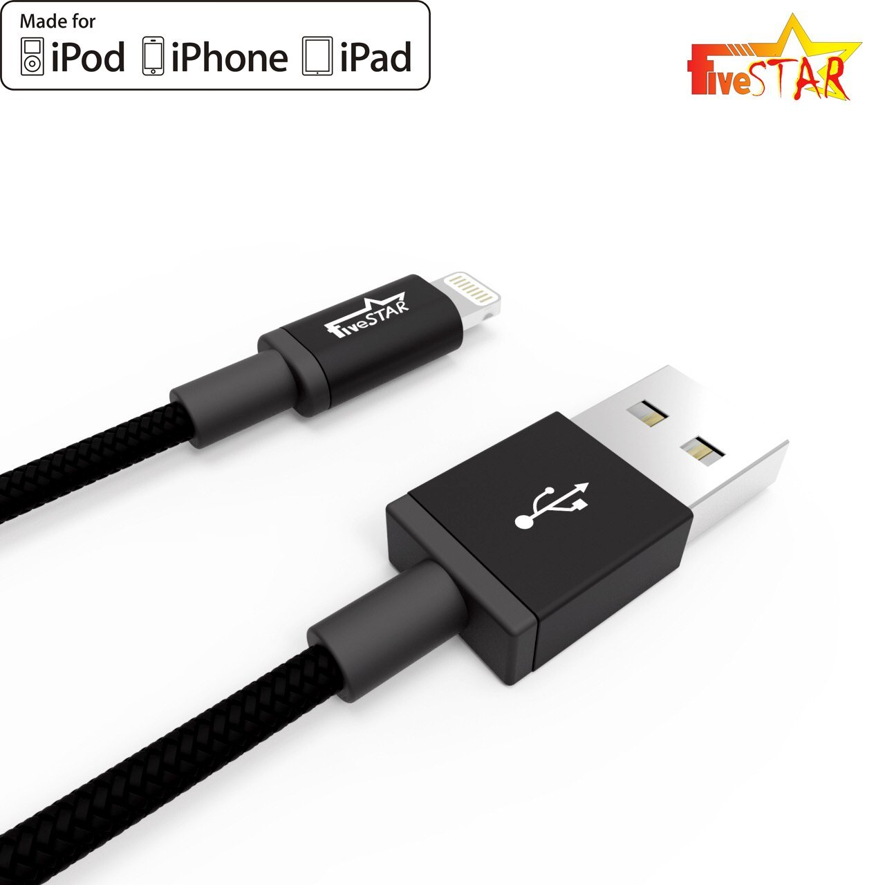 Best iPhone Charging USB Cable Cord Lightning to USB Cable Black Silver [APPLE MFI Certified] (Black)