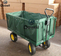 Four-wheel garden steel mesh cart trlloey All terrian folding wagon Garden nursery pull cart trolley wagon TC1880