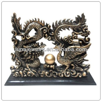 Resin Dragon And Phenix Play Ball ,Chinese dragon sculpture/dragon ornaments