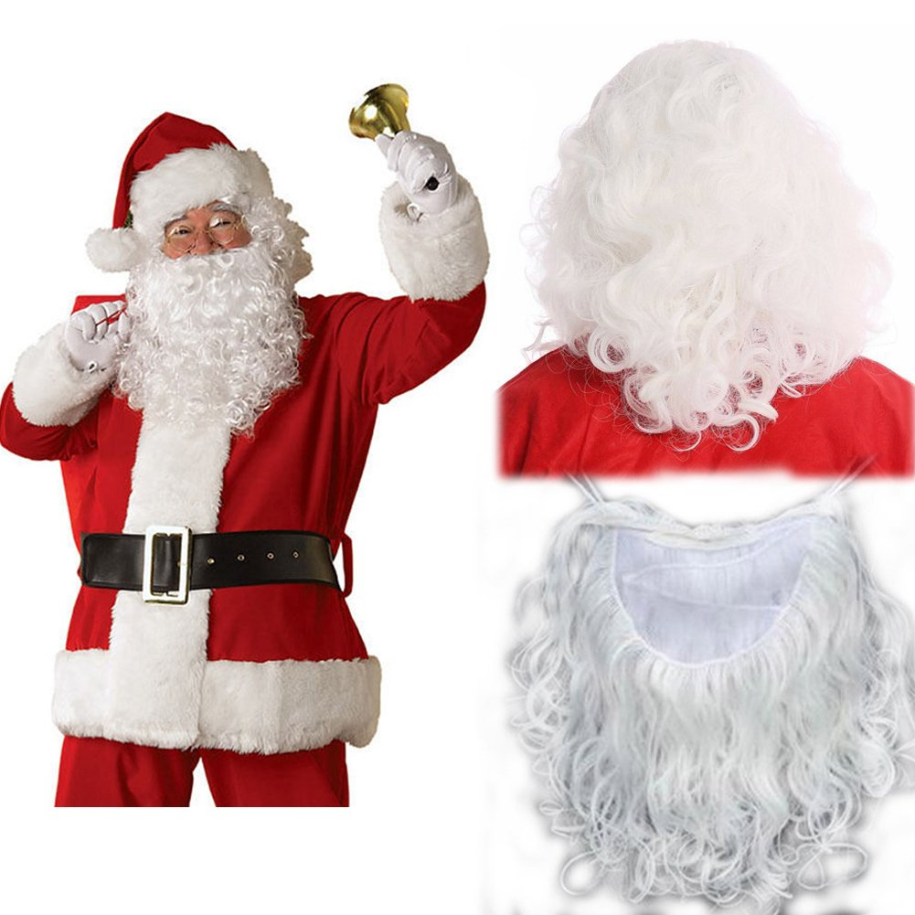 Economy Father Christmas Wig and Beard Thick Santa Claus wig Moustache Set White Curly Wavy Fluffy Long Wig for Xmas Fancy Dress Masquerade Party Costumes Role Play 240g+Free Wig Net