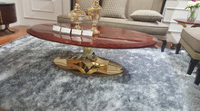 Foshan Living room stainless steel golden base classic coffee table with red marble