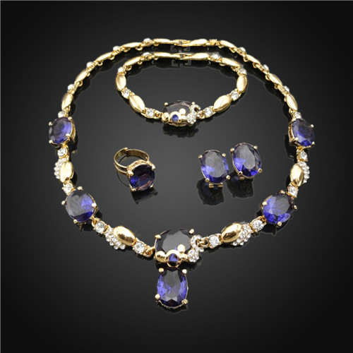 blue crystal rhinestone indian jewellery set 18k gold plated ,terracotta jewellery india,artificial jewellery jaipur