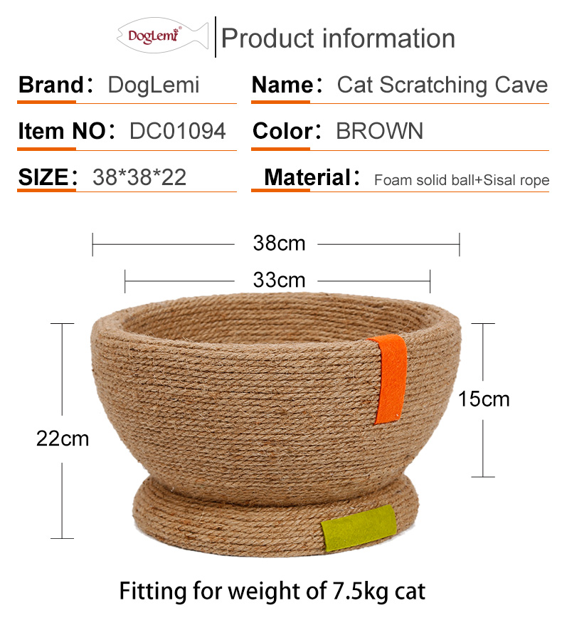 Doglemi Nature Linen Sisal Cat Bed Cave Personalized Scratching Cat Cave