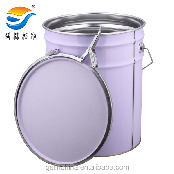 5 gallon printed metal bucket with lock ring