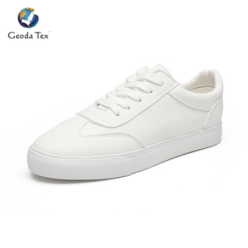 Geoda White PU Leather Men Shoes Casual Sneaker