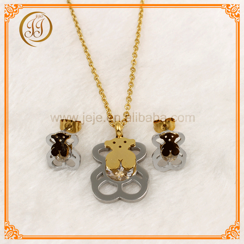 New Arrival Cubic Zirconia Gold And Silver Necklace And Earring Set