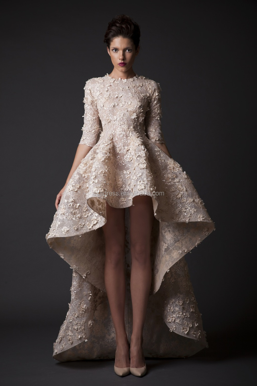 Sexy Half Sleeve Short Front Long Train Back Bridal Dress